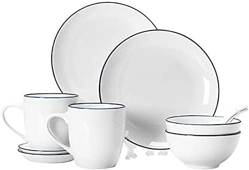 JXH Juego de 10 platos de cena de porcelana blanca y borde azul oscuro, resistente al calor, con 2 cuencos, 2 platos, 2 tazas y 2 platillos de servicio para 2 personas, Euro Ceramica