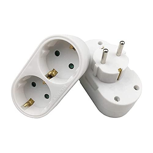 Adaptador de Enchufe TWSTYFAL, Enchufe Doble 2 Piezas con Interruptor 16A / 250V / MAX 3680W Blanco, Enchufe Doble para Oficina, en casa, Mientras viaja