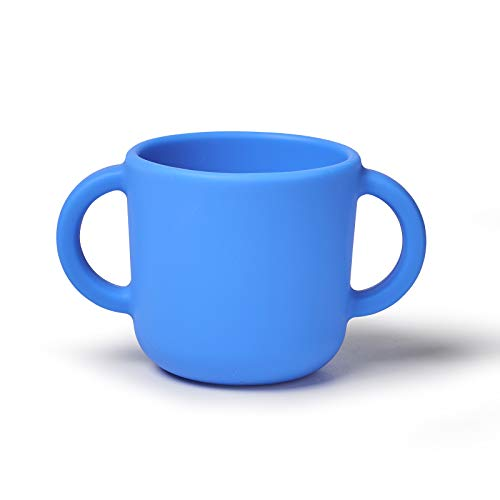 Price comparison product image Silicone Training Cup for Infants,  Toddler Learning Cup with Two Handles,  Baby Open Cup 5oz,  6months+ (blue)