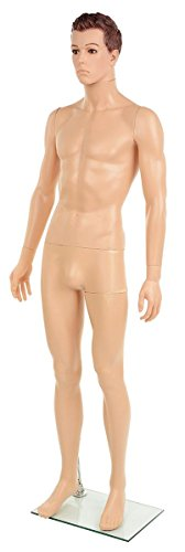 Displays2go Realistic Male Mannequin with Formed Hair, Standing Form, Tempered Glass Base