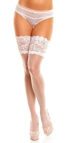 GLAMORY Damen Halterlose Strümpfe Comfort 20 DEN, Weiß (Weiß), Medium (Herstellergröße: M-(40-42))