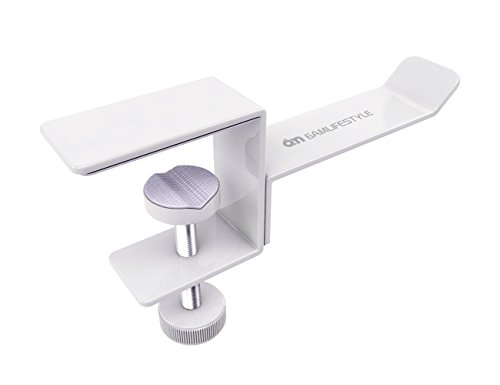 Headphones Stand - 6amLifestyle Universal Metal Headset Hanger Holder Clip with Adjustable Clamp for Computer Desk and Shelf, White …