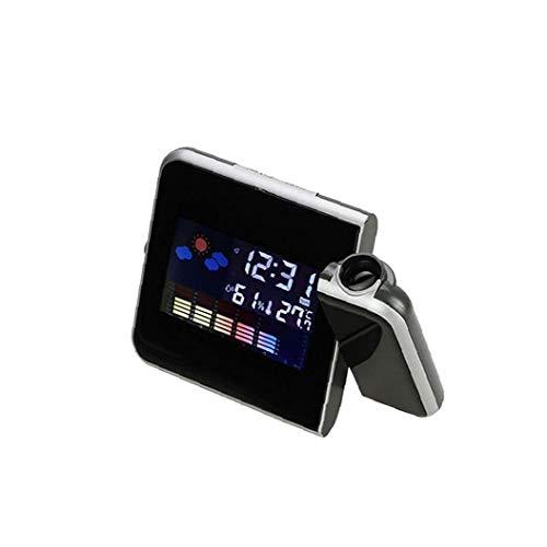 Multi-Funktions-Digital-Projektions-Wecker mit Wetterstation LED USB-Ladegerät Indoor Outdoor Degree Dual-Wecker für Schlafzimmer ohne Akku Schwarz für Haus und im Freien