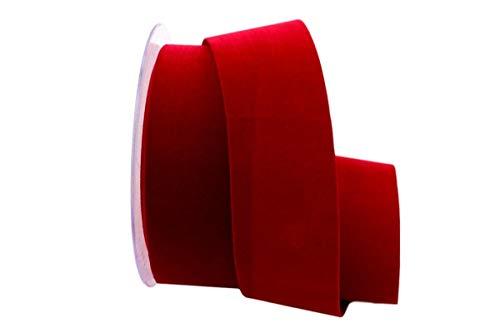 Christa-Bänder Samtband 40 mm ohne Draht rot dunkel