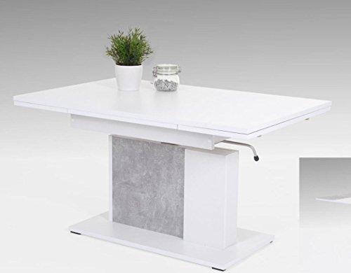 Hela Tische GmbH Couchtisch Funktionstisch Tisch Linus Höhenverstellbar Ausziehbar Betongrau/Weiß