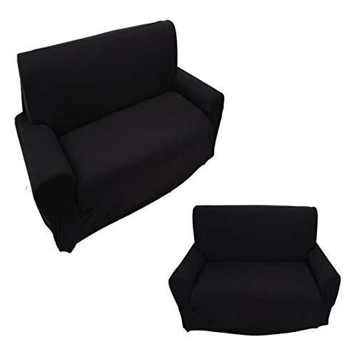 Qqmora 7 Colores Funda de sofá de Alta Elasticidad Funda de poliéster para sofá de Oficina en casa Hotel Sala de Estar(Negro)