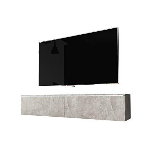 Selsey Kane – TV-Lowboard TV-Schrank hängend/stehend 140 cm (Betonoptik mit LED)