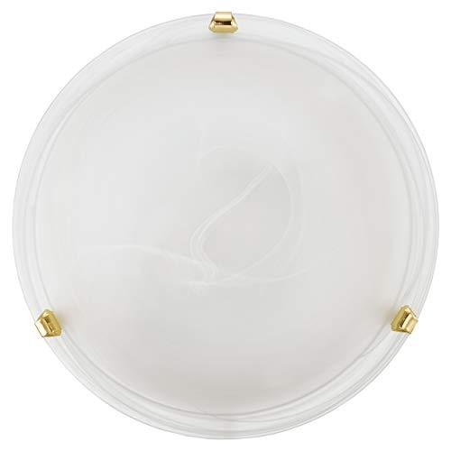 EGLO Deckenlampe Salome, 1 flammige Deckenleuchte klassisch, Wohnzimmerlampe aus Metall und Alabaster-Glas, Küchenlampe in Messingfarben, Weiß, Flurlampe Decke mit E27 Fassung, Ø 30 cm