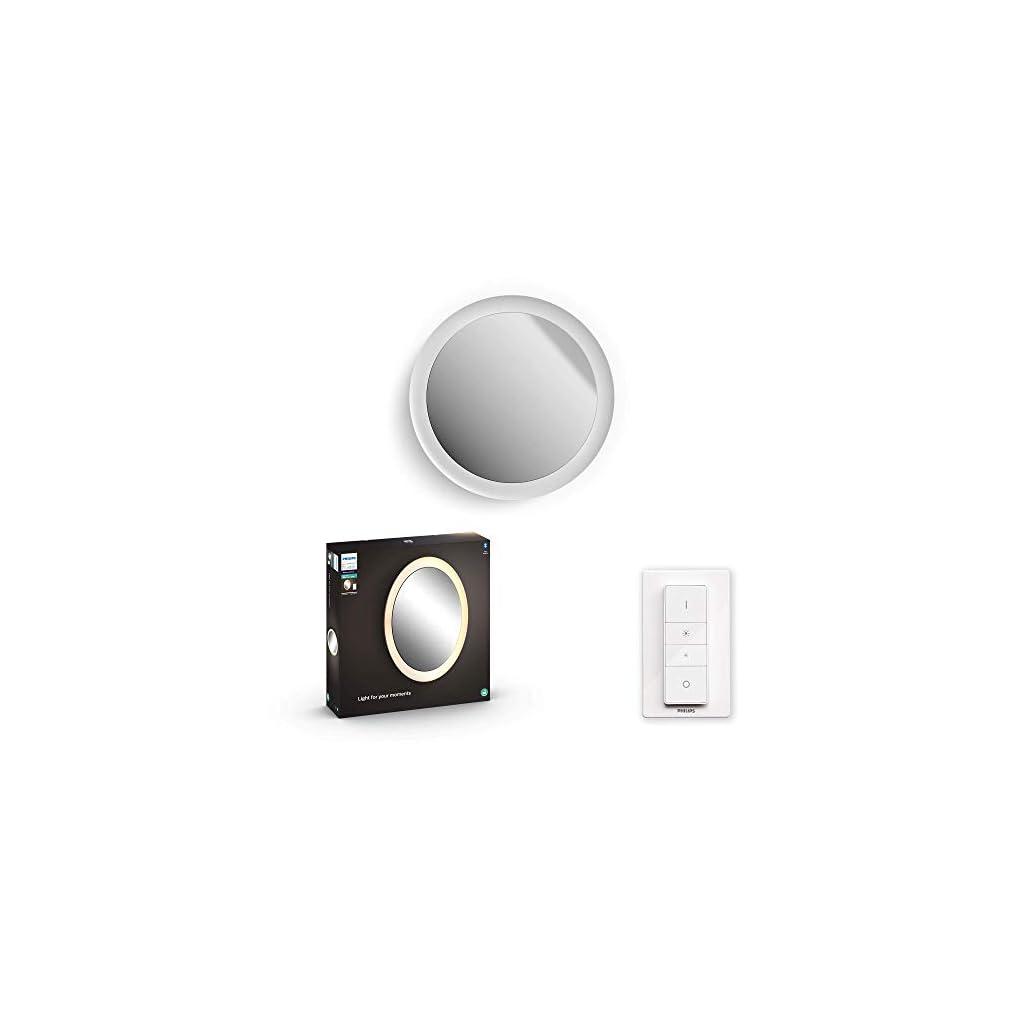 Philips White Ambiance ADORE Applique miroir salle de bain GM compatible Bluetooth 1x40W– Blanc (télécommande incluse), compatible Bluetooth