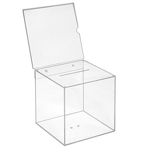 Votaciones de acrílico cristal en 200x 200x 200mm con pizarra 210x 210mm–zeigis/Dona Caja/caja/sorteo bicicletaDerbystar parte Box/transparente/transparente/acrílico/Plexiglas