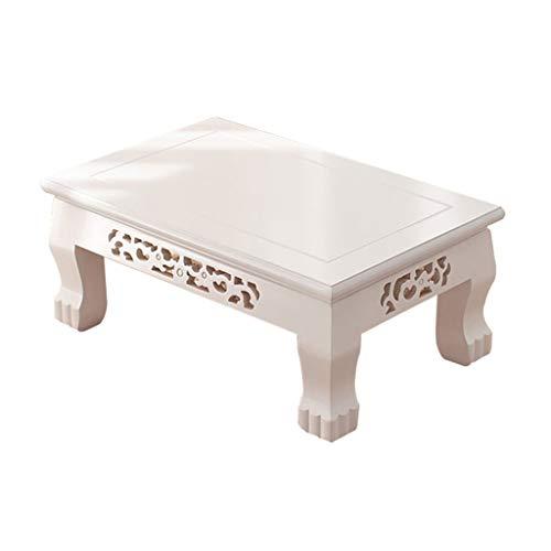 Tables Basse De Salon Basse Moderne Simple Basse Blanche Basse Tatami Baie Vitrée Basse en Bois Balcon Basses (Color : Blanc, Size : 50 * 35 * 26cm)