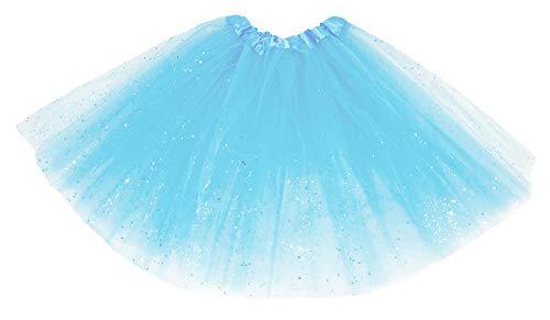 Das Kostümland Glitter Petticoat 40 cm - Dames Rok Tutu Carnaval Carnaval Meisje, Lichtblauw