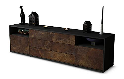 Stil.Zeit TV Schrank Lowboard Bettina, Korpus in anthrazit matt/Front im rost antik Industrie Design (180x49x35cm), mit Push-to-Open Technik und hochwertigen Leichtlaufschienen, Made in Germany