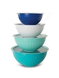 Covered Bowl Set, 8-pc, Set of 8, Coastal Colors
