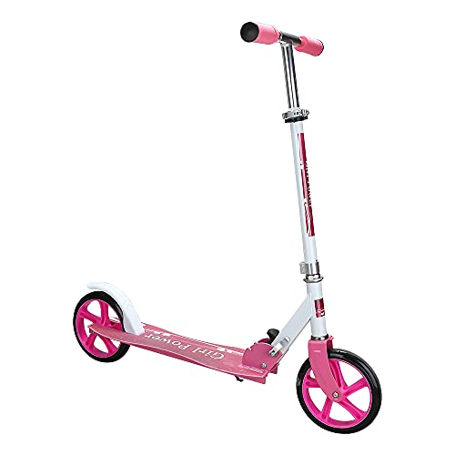 EINFEBEN Kinder Scooter mit 205mm Big Wheels -klappbar 3 Höhenverstellbar Mädchen und Junge Freizeit City Roller klappbar- bis 100KG Gewicht (Rosa)