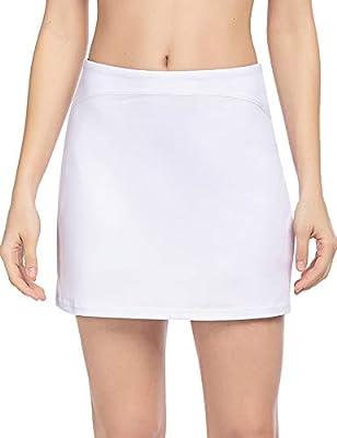 COOrun Women's Active Athletic Skort Lightweight Skirt with Zipper Pockets for Running Tennis Golf Workout Skirts S-XXL (White, Small)