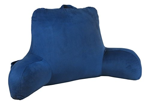 Klear Vu Velour Bed Rest Back Support Pillow with Pocket and Handle, One Size, Navy