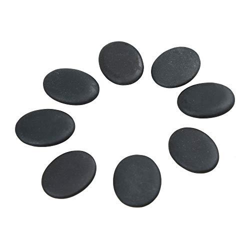 Windfulogo 8 Stk. Professionelle kleine Massage Heiß Massagesteine Hot Stone Set Natürliche Lava beheizte Steine Basaltwärmer Rock für Spa, Massagetherapie 1,18 x 1,57 x 0,31 Zoll Schwarz