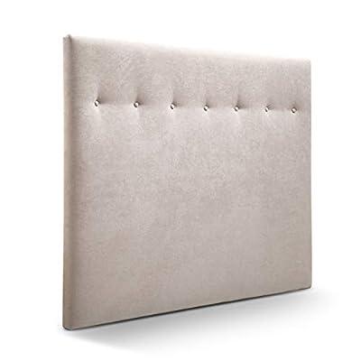 Cabecero tapizado acolchado para dormitorios con estructura en madera de pino Cabecero de cama acolchado con espumación HR Cabecero tapizado en tela antimanchas/polipiel Para camas de 135 (145 x 120 cm) tela beige