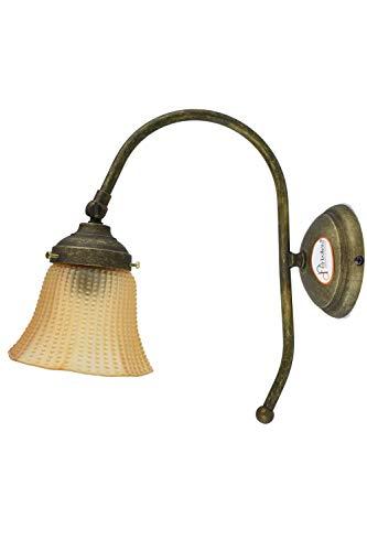 fd-bolletta arredamento e illuminazione apliques de pared rusticos, aplique vintage interior con pantalla de lampara a36 Medidas:Protrusión de la lámpara 24cm,Ø vidrio 12cm,Ø base 10cm