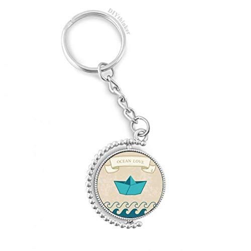DIYthinker Papier Falten Boot Ozean-Liebe Meer Segeln Drehbare Schlüsselanhänger Ringe 1.2 Zoll x 3.5 Zoll Mehrfarbig