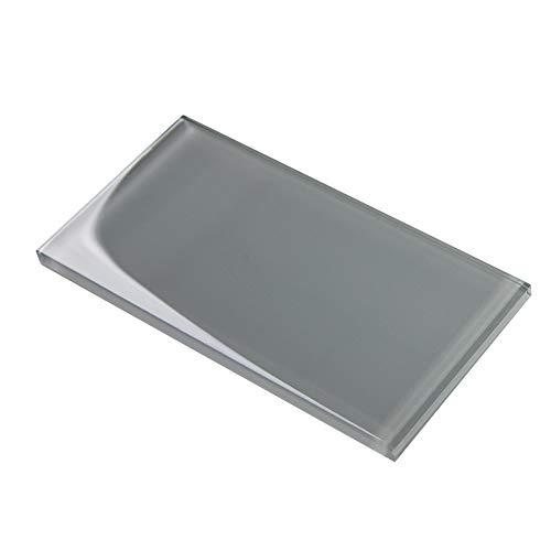 Soulscrafts Glasfliesen für Küche, Badezimmer, Dusche, Wand, 7,6 x 15,2 cm, Grau (40er-Pack, 5 m²)