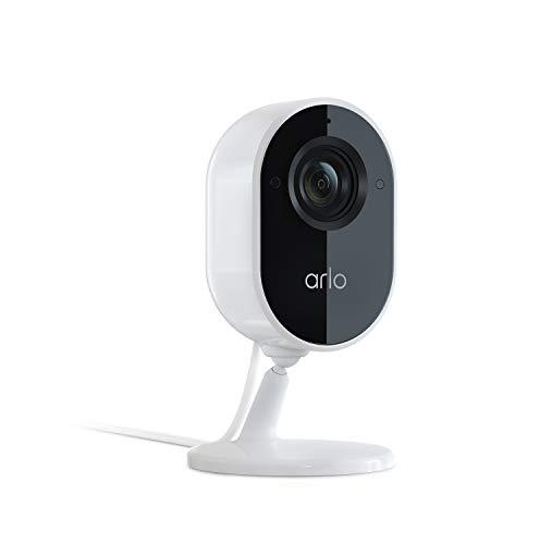 Arlo Essential Indoor, cámara vigilancia wifi interior 1080P con sirena, detector de movimiento, visión nocturna, audio bidireccional, funciona con Alexa, Blanco