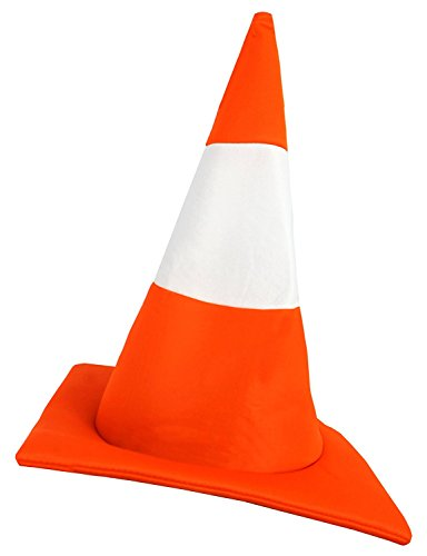 ILOVEFANCYDRESS Chapeau fantaisie pour adulte en forme de cône de chantier orange et blanc.