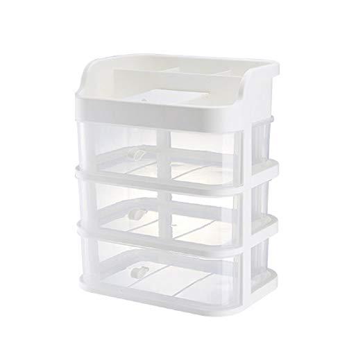 Beauty Kosmetik Organizer Plastik Aufbewahrungsboxen mit Schublade, Abnehmbarer Spiegel,für Schmuck Lippenstift Pinsel, Weiß