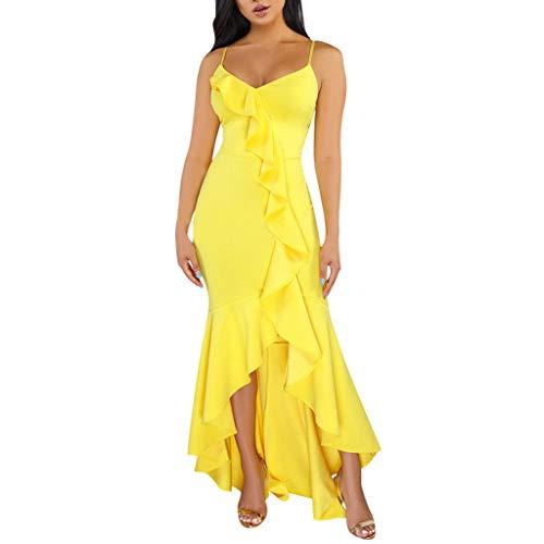 Damen Sling gekräuselte Kleid sexy einfarbig unregelmäßigen Sommer ärmellose Low-Cut eng anliegende Lange Kleid Abendkleid Sonojie
