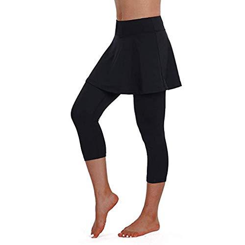 iYmitz Frauen Casual Culottes Tennis Hosen Sport Fitness Cropped Damen Rock Leggings aus Hochwertigen(Schwarz,S)