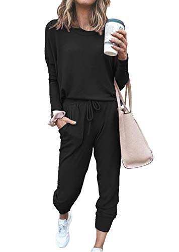 ETCYY NEW Lounge Sets for Women Sweatsuits Sets Two Piece Outfit Long Sleeve Pant Workout Athletic Tracksuits (Black, Medium)