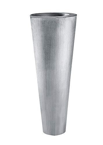 GILDE Vase - Bodenvase aus Metall in matt Silber H 79 cm D 34 cm