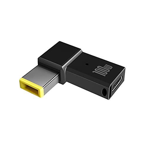 Nlager Adaptador De Carga para Computadora Portátil Larga Vida útil para ThinkPad Type-C A Conector De Adaptador De Corriente De Enchufe Cuadrado Negro