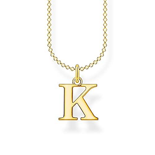 Thomas Sabo Collar de mujer con letra K de oro 925, chapado en oro amarillo de 18 quilates KE2020-413-39