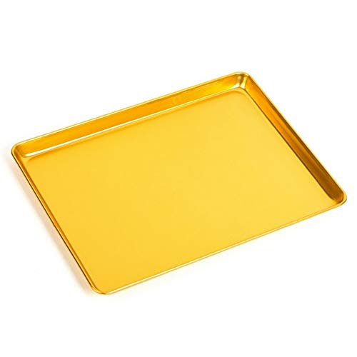 Gold Baking Sheet Pan,Gold Soft Anodizing Aluminium Steel Baking Cookie Sheet Pan For Oven Tray Roasting Meat Bread Jelly Roll Battenberg Pizzas Pastries
