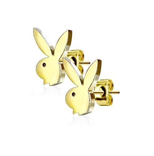 beyoutifulthings Damen 1 Paar Ohringe Ohr-ringe Set Ohr-stecker Edelstahl Chirurgenstahl Playboy-bunny gold