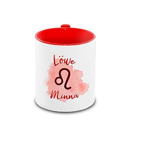 Tasse mit Namen Minna und Sternzeichen-Motiv Löwe im Lettering-Stil | Keramik-Tasse rot | Astrologie-Geschenk