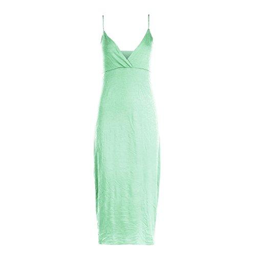 Damen Kleid Träger Wickeltop Körperform Sommer Freizeit Midi Kleid - Apfelgrün, Übergröße 46/48