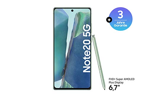 Samsung Galaxy Note 20 5G Android Smartphone ohne Vertrag Triple Kamera Infinity-O Display256 GB Speicher starker Akku Handy in grün [Exklusiv bei Amazon]