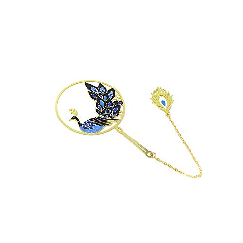 yueton Peacock Metal Bookmarks 24K Gold Plated Brass Page Marker with Metal Pendant