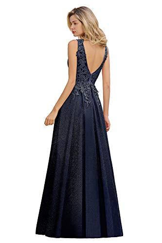 MisShow Damen elegant V Ausschnitt Spitzen Applique Abendkleider Ballkleider Abschlusskleider Maxilang Kleider Navyblau 32