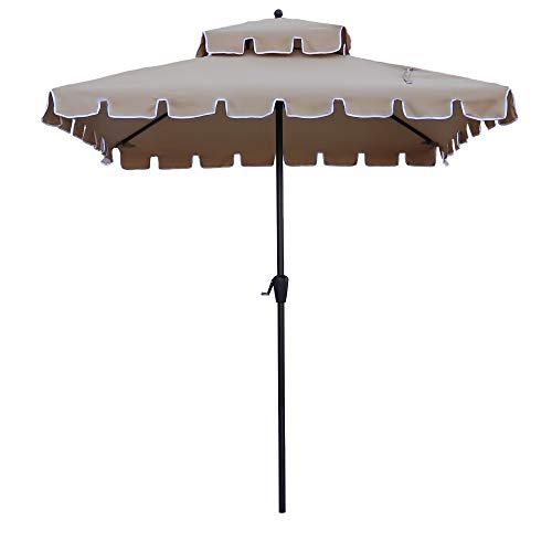 ABBLE 7 Ft Square Scallop Outdoor Patio Umbrella with Crank, Weather Resistant, UV Protective Umbrella, Durable, 8 Sturdy Steel Ribs, Market Outdoor Table Umbrella - Tan