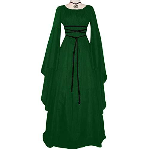 Bagong Vestido largo medieval para mujer, estilo vintage, con cordones, estilo gótico, cintura media, cuello redondo, manga larga para Halloween