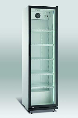 Scandomestic SD429-1 Refrigerador - Nevera para bebidas, Volumen 394L, Funcionamiento silencioso, Puerta de cristal, Control mecaníco, Iluminación LED, Negro-plateado