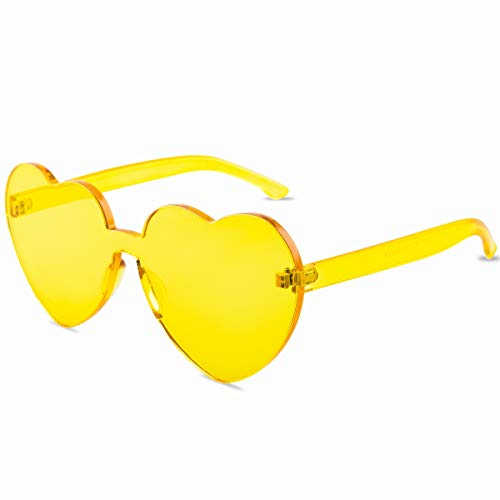 One Piece Heart Shaped Rimless Sunglasses Transparent Candy Color Eyewear - Yellow
