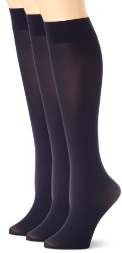 Soft Opaque Knee High Socks (Pack of 3), Navy, 2