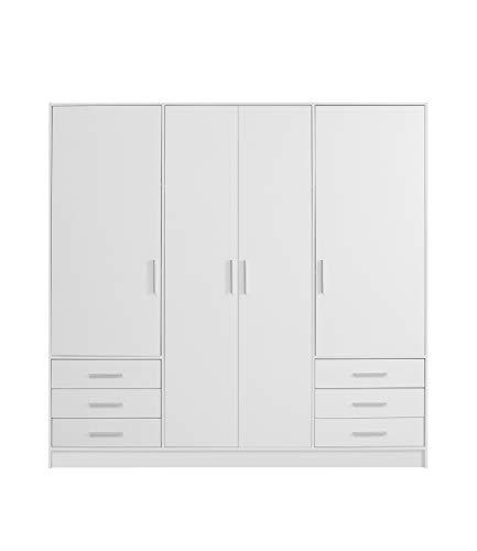 FORTE Jupiter Kleiderschrank 4-türig, 6 Schubkästen, Holz, Weiß matt, 206.5 x 60 x 200 cm