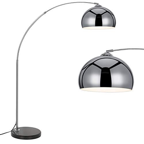 67' Modern Arc Floor Lamp, Metal Dome Shade with Marble Base, Stylish Lighting Perfect for Bedroom, Living Room, Office or Behind The Couch, Chrome Finish