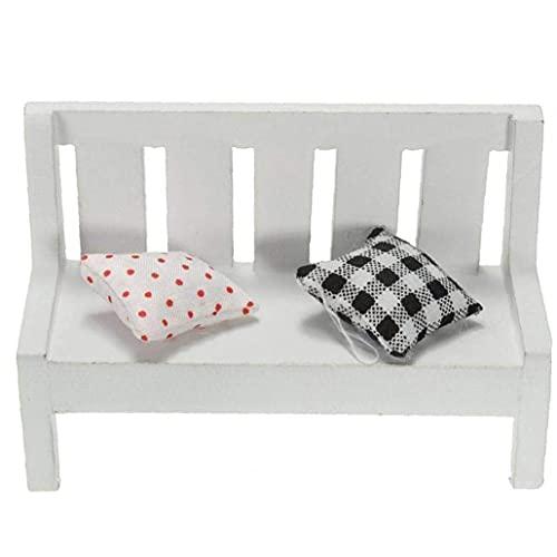 NIDONE Mini Blanco Silla Silla de Madera Decorativo de Escritorio Decorativo Micro Paisaje Decorativo Muebles del Dollhouse